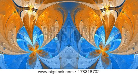 Beautiful fractal flower in stained glass window style. Element of design. You can use it for invitations notebook covers phone case postcards cards and so on. Artwork for creative design.