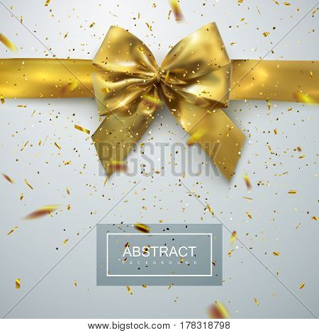 Golden Bow And Ribbon With Golden Sparkling Confetti Particles. Vector Holiday Illustration. Realistic Decoration Element For Design