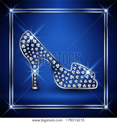 Women shoe decorated with jewels. Vector illustration.