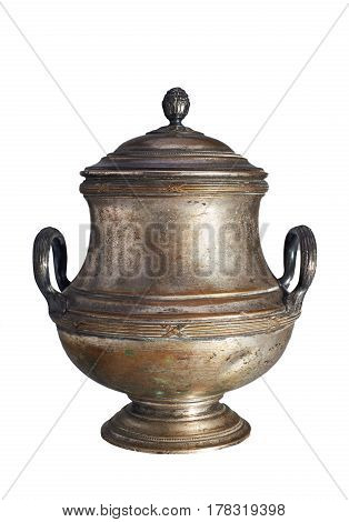 An old vase with a lid of brass. The vase is covered in tin. Isolated on a white background