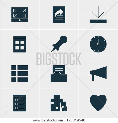 Vector Illustration Of 12 Online Icons. Editable Pack Of Date Time, Clock, Document Directory And Other Elements.