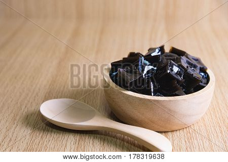Grass Jelly On Wooden Table