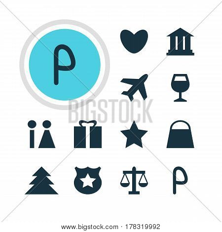 Vector Illustration Of 12 Location Icons. Editable Pack Of Toilet, Scales, Car Park And Other Elements.