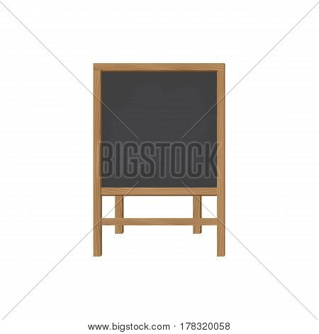 Square wooden board for writing chalk on the legs. A stylish board for menus or for children's creativity. The front view. Vector illustration.