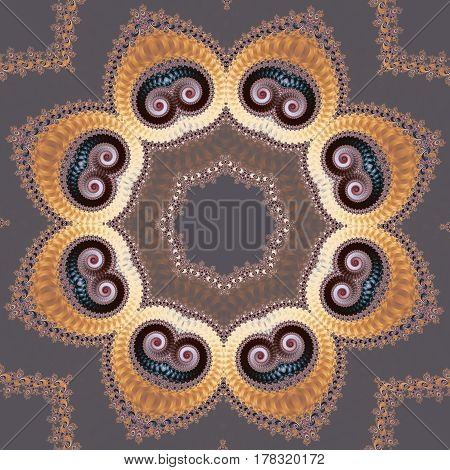 Fabulous fractal background with spiral and circle ornament. You can use it for invitations notebook covers phone case postcards cards ceramics carpets and so on. Artwork for creative design and art.