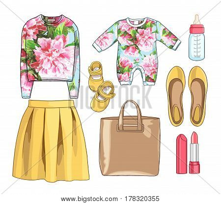 Lady fashion set of spring season outfits, Mother and baby. Skirt, sweatshirt, bag, accessories, overalls, baby, newborns, clothes for children, a bottle of milk, booties.