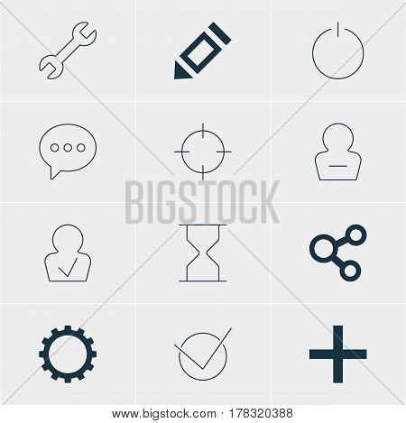 Vector Illustration Of 12 Interface Icons. Editable Pack Of Approved Profile, Cogwheel, Wrench And Other Elements.