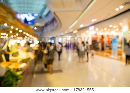 Abstract Blur Or Defocus Background Of People Or Crowd Shopping In Department Store