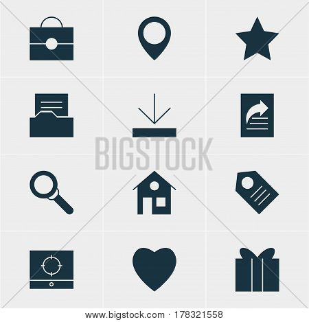 Vector Illustration Of 12 Internet Icons. Editable Pack Of Document Directory, Document Transfer, Magnifier And Other Elements.
