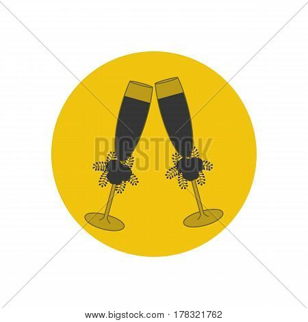 Champagne glass silhouette on the yellow background. Vector illustration