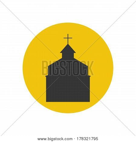 Church silhouette on the yellow background. Vector illustration