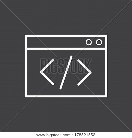 Coding icon vector on the grey background. Vector illustration