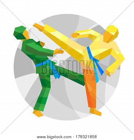 Two Taekwondo Fighters With Abstract Patterns