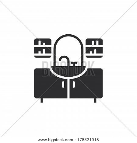 washstand icon vector solid flat sign pictogram isolated on white logo illustration