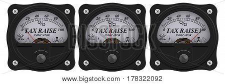 Tax raise indicator. Analog indicator showing the level of tax raise. 3D Illustration. Isolated