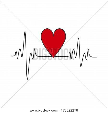 Heart beat on the white background. Vector illustration