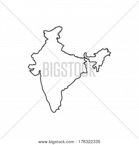 India map silhouette illustration on the white background. Vector illustration