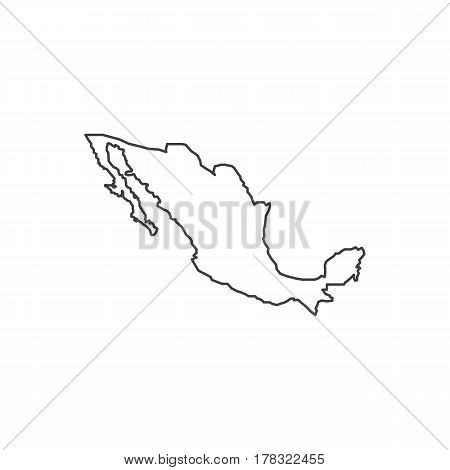 Mexico map silhouette illustration on the white background. Vector illustration