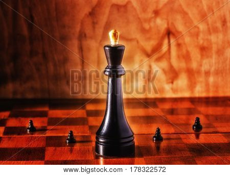 King and pawns on the chessboard chess can be compared to real life there are managers and there are promoted big companies and small
