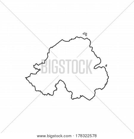 Northern Ireland map silhouette illustration on the white background. Vector illustration