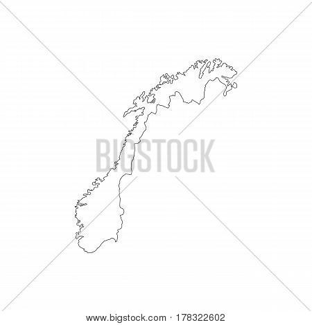 Norway map silhouette illustration on the white background. Vector illustration