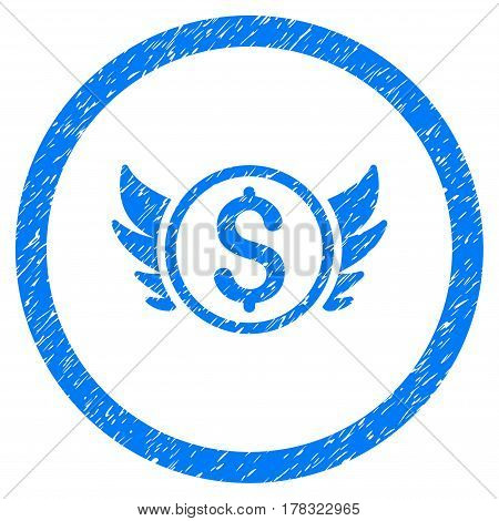 Angel Investment grainy textured icon inside circle for overlay watermark stamps. Flat symbol with scratched texture. Circled vector blue rubber seal stamp with grunge design.