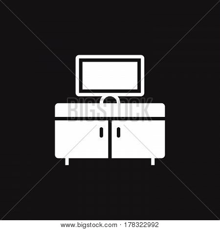 tv bench icon vector solid flat sign pictogram isolated on black logo illustration