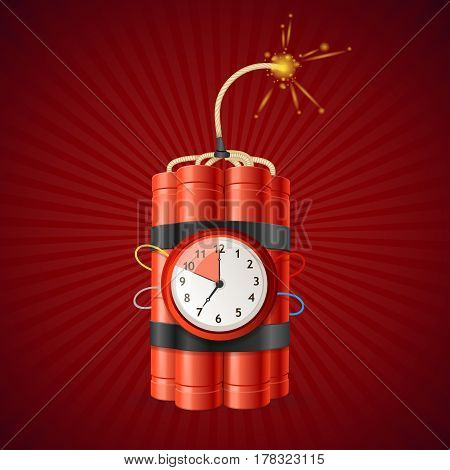 Detonate Dynamite Bomb and Timer Clock on a Red Background Concept of a Deadline. Vector illustration