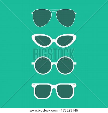 Sun glasses set on the green background. Vector illustration