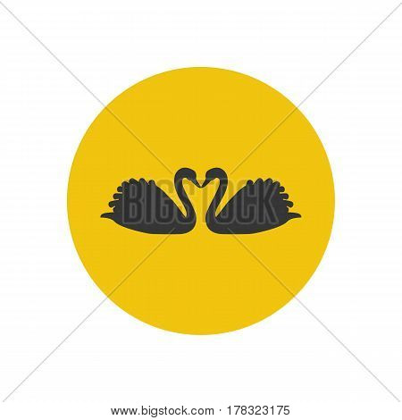 Swans silhouette on the yellow background. Vector illustration
