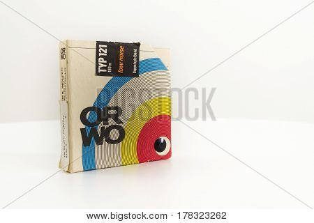 PRAGUE CZECH REPUBLIC - MARCH 17: ORWO vintage reel-to-reel audio recorder tape isolated on white background on March 17 2017 in Prague Czech republic.