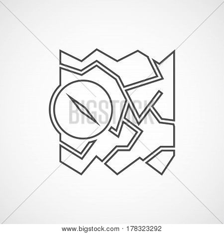 Vector flat map and compass icon. Isolated line icon for logo web site design app UI. Flat travel illustration for posters cards book cover flyers banner web game designs.