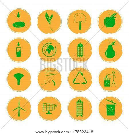 Vector illustration of sixteen yellow grunge icons with green images illustrating the concept of an eco-friendly city.