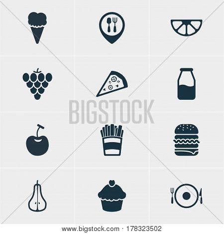 Vector Illustration Of 12 Dish Icons. Editable Pack Of Serving, Restaurant, Berry Type And Other Elements.