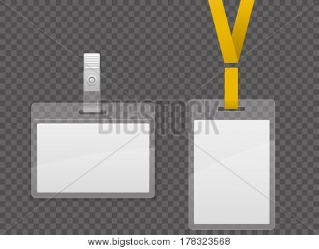 Set of lanyard and badge. Template Plastic Badge Identification Set Can Be Used for Presentation, Company or Office. Empty Mock Up. Realistic vector illustration