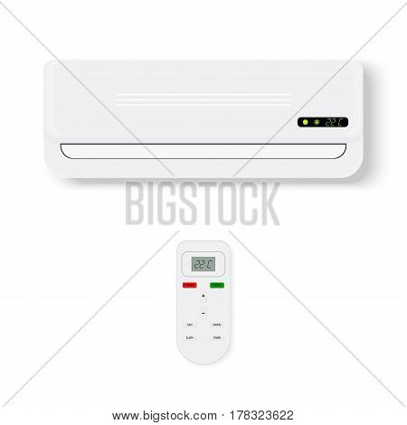 Split system air conditioner.Realistic conditioner with remote control. Vector illustration isolated on white background.