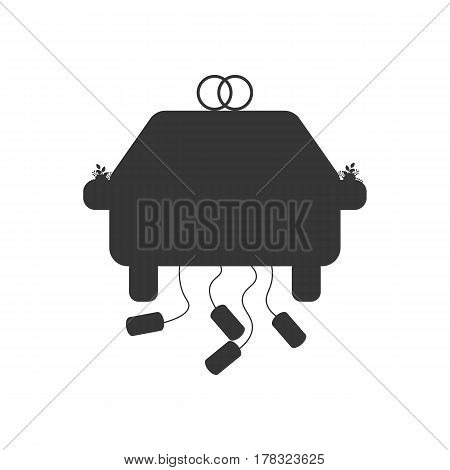 Wedding car silhouette on the white background. Vector illustration
