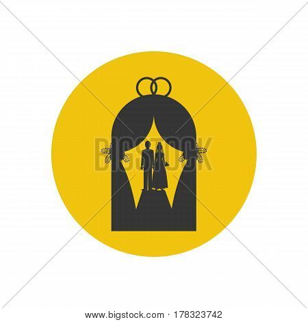 Wedding silhouette on the yellow background. Vector illustration