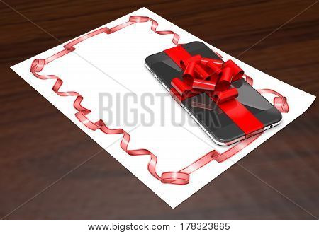 Gift mobile phone on paper with red ribbon on wooden background (3d illustration).