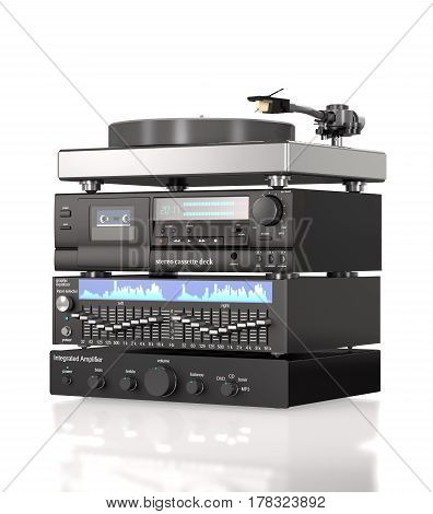 Stack of sound radio equipment on white background (3d illustration)