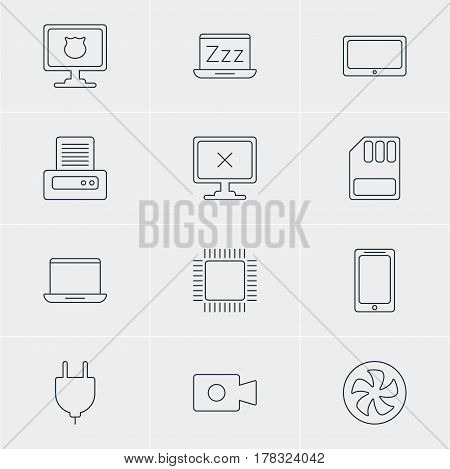 Vector Illustration Of 12 Computer Icons. Editable Pack Of Storage, Antivirus, Tablet And Other Elements.