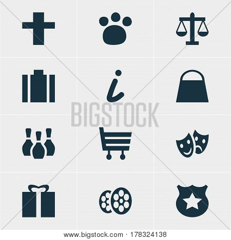 Vector Illustration Of 12 Travel Icons. Editable Pack Of Briefcase, Cop, Film And Other Elements.