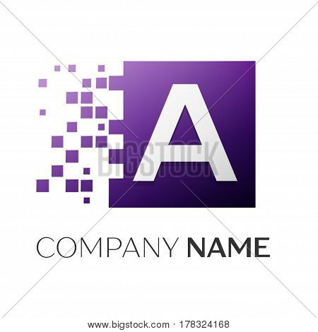Letter A vector logo symbol in the colorful square with shattered blocks on white background. Vector template for your design