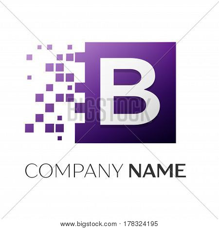 Letter B vector logo symbol in the colorful square with shattered blocks on white background. Vector template for your design