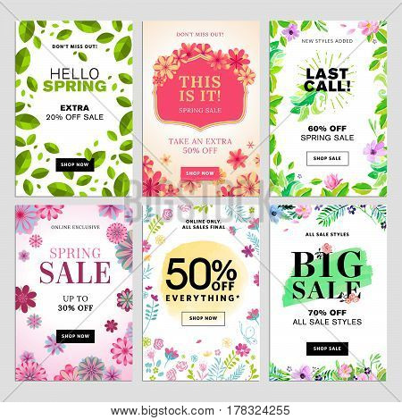 Set of mobile spring sale banners. Vector illustrations of online shopping website and mobile website banners, posters, newsletter designs, ads, coupons, social media banners. poster