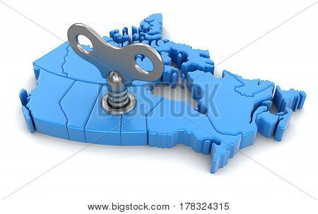 3D Illustration. Map of Canada with winding key. Image with clipping path.