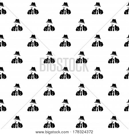 Vector hand drawn cartoon seamless pattern with detective. Crime noir theme. Black and white spy pattern for paper textile polygraphy game web design