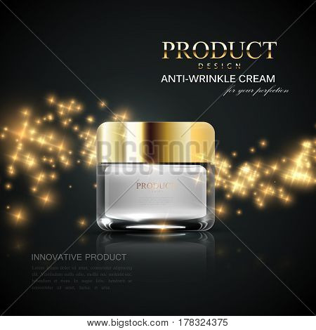 Cosmetics product ads. 3d vector beauty illustration of anti-wrinkle facial cream glass jar and wave of glittering sparkles. Package mock-up for fashion magazine poster design.