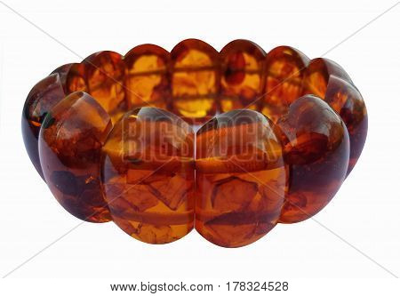 Beads from amber,  Amber bracelet, Isolated on white background. necklace
