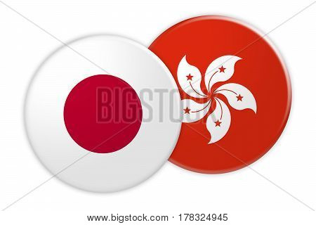 News Concept: Japan Flag Button On Hong Kong Flag Button 3d illustration on white background
